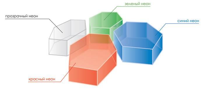 Цвета модульного покрытия эстиваль неон: красный, синий, зеленый, прозрачный, серый и черный
